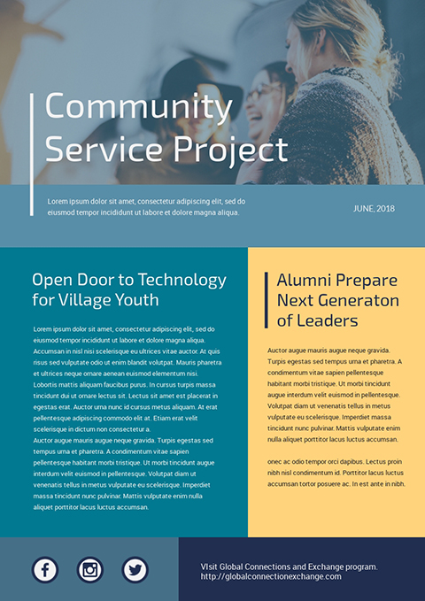 Community Service Project - Newsletter Template