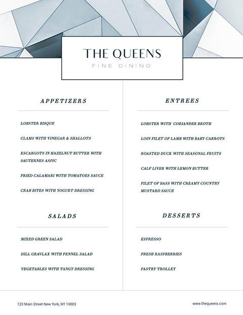 Fine Dining - Menu Template