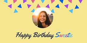 Happy Birthday Sweetie Twitter Post Template