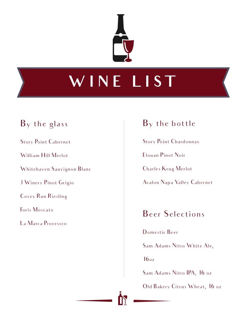 Wine List - Menu Template