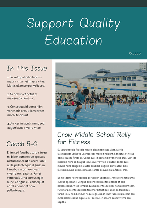 Support Quality Education Newsletter Template Visme