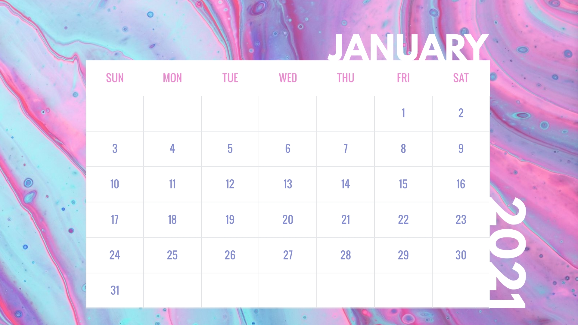 Abstract Art Yearly Calendar Template
