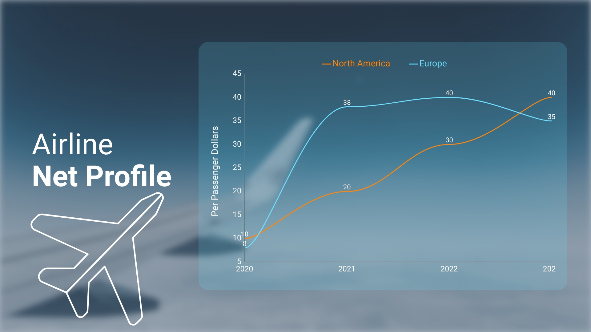 Airline Net Profile Line Graph Template
