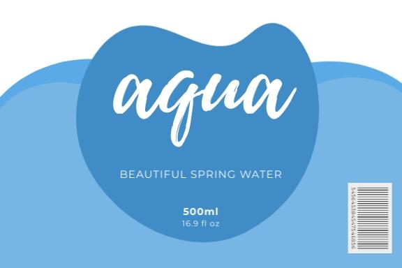 Aqua Water Bottle Label Template