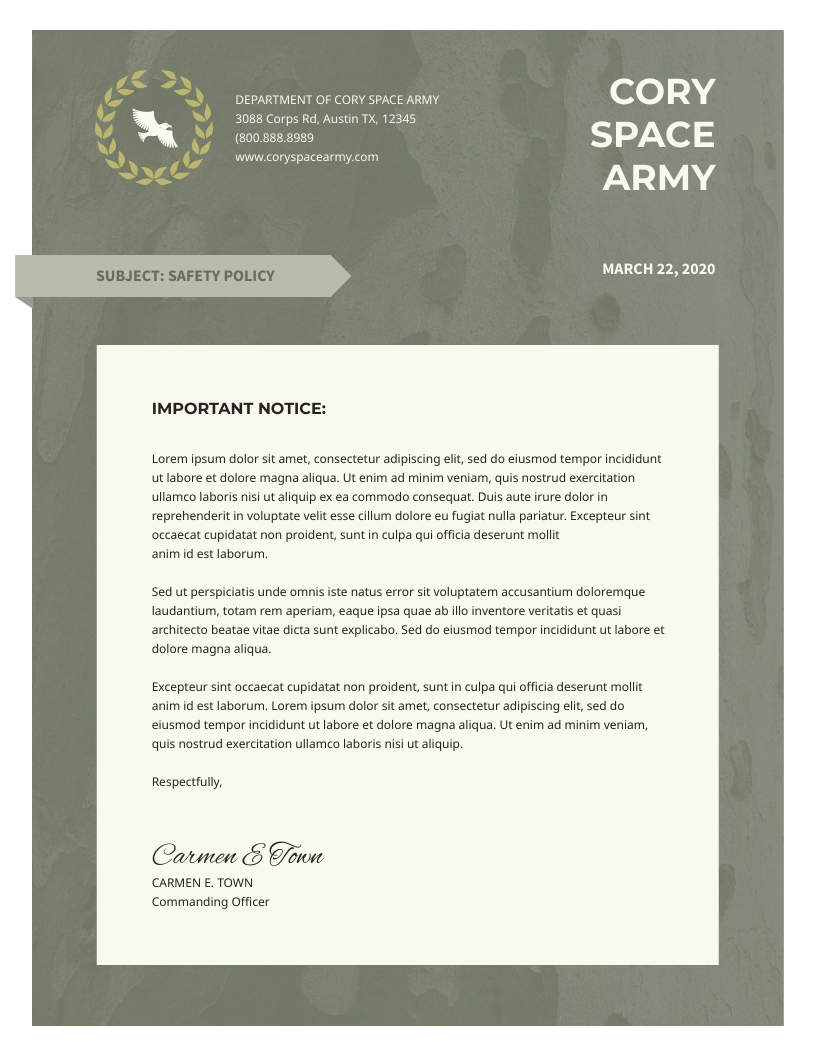 Army - Letterhead Template
