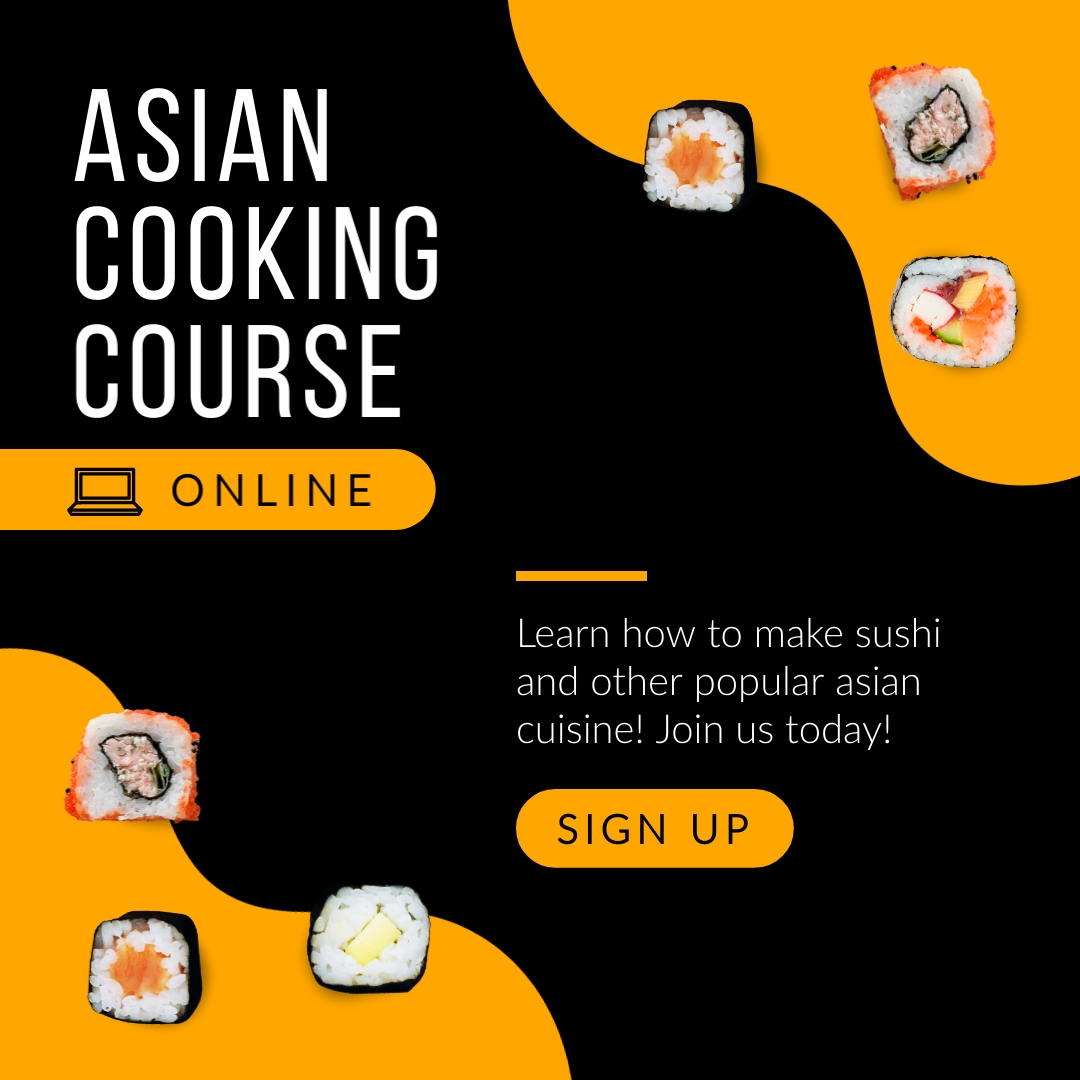 Asian Cooking Course Online Animated Square Template