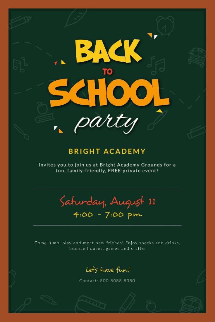 Back to School Chalkboard Party Pinterest Post Template