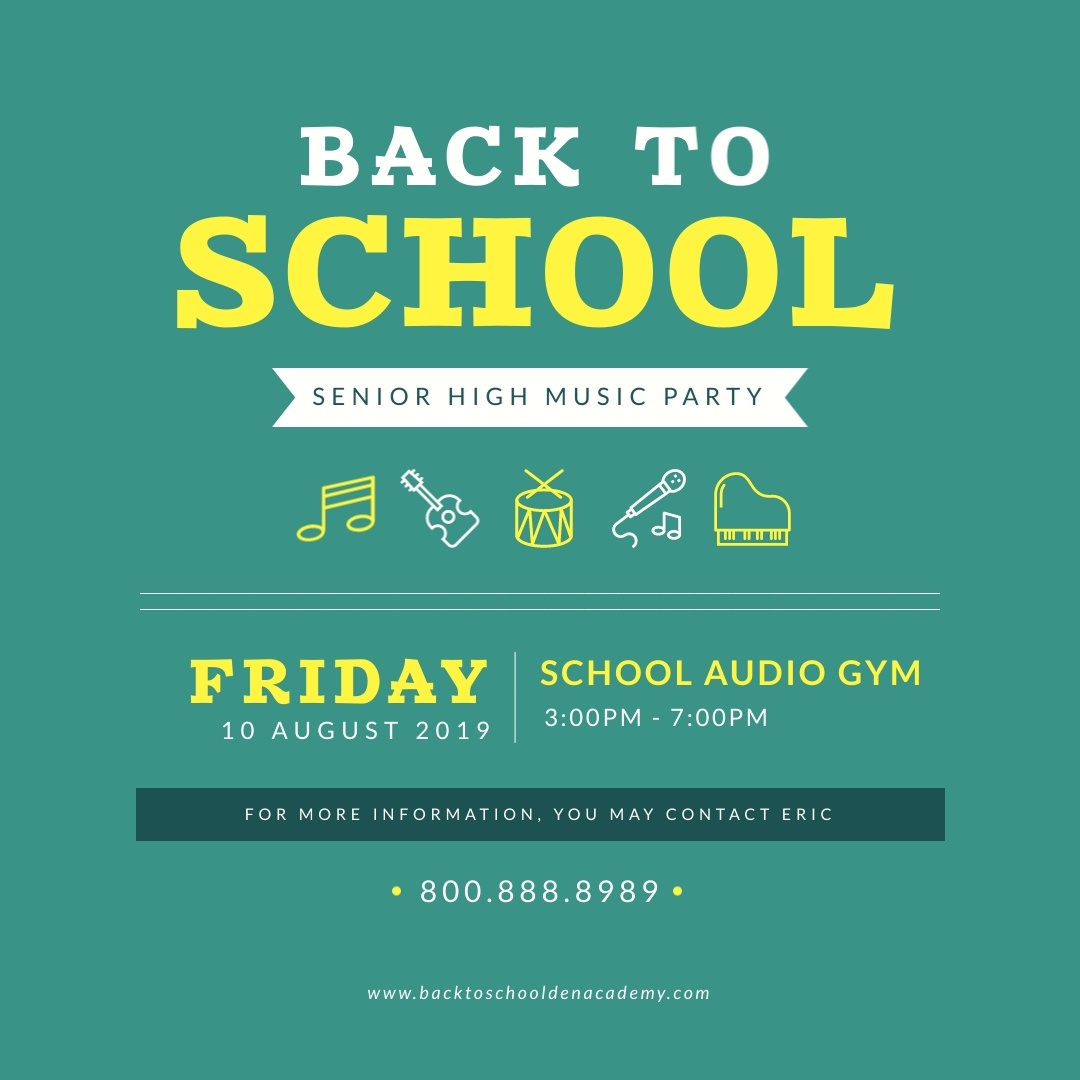 Back to School Music Party Instagram Post Template