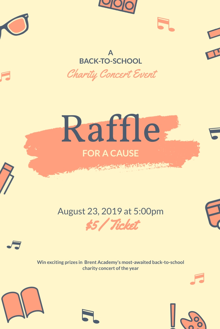 Back to School Raffle for a Cause Pinterest Post Template