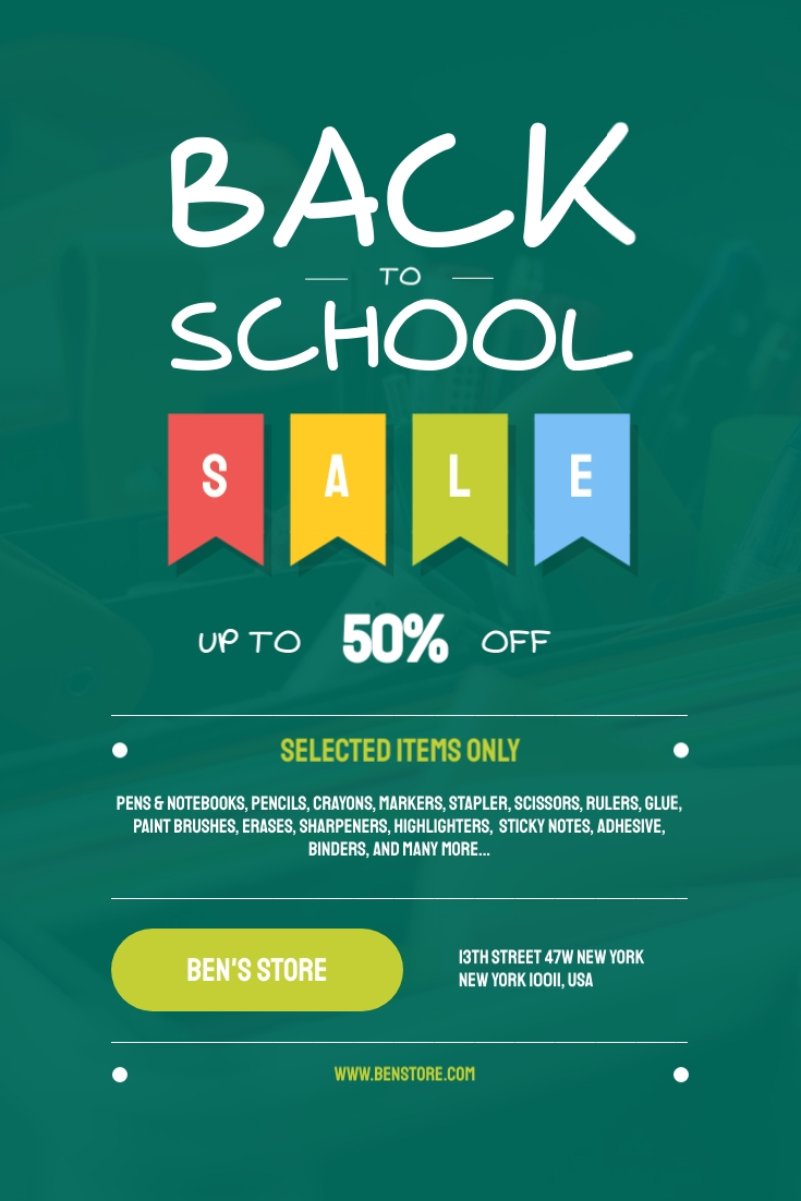 Back to School Sale Items Pinterest Post Template