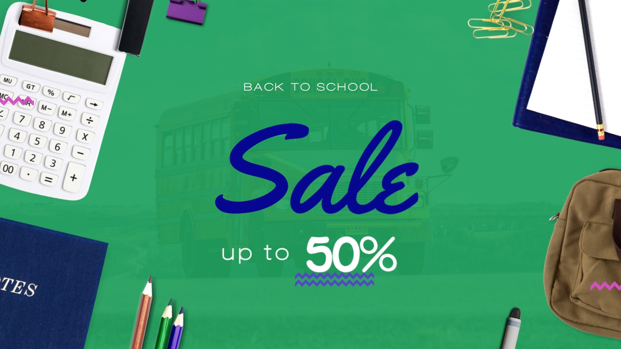 Back to School Super Sale Youtube Video Cover Template