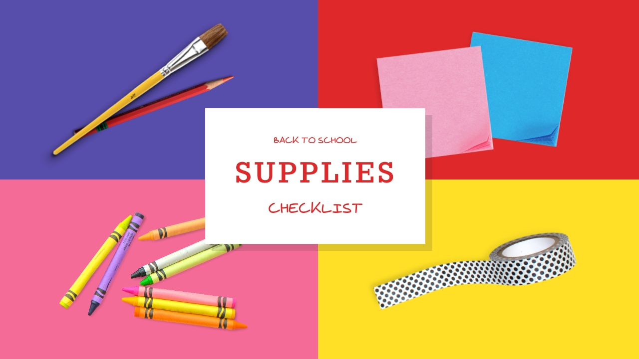 Back to School Supplies Checklist Youtube Video Cover Template
