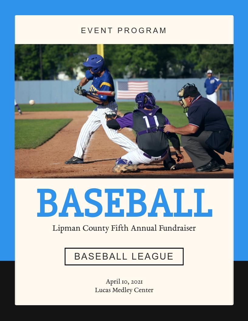 Baseball League Fundraising - Event Program Template
