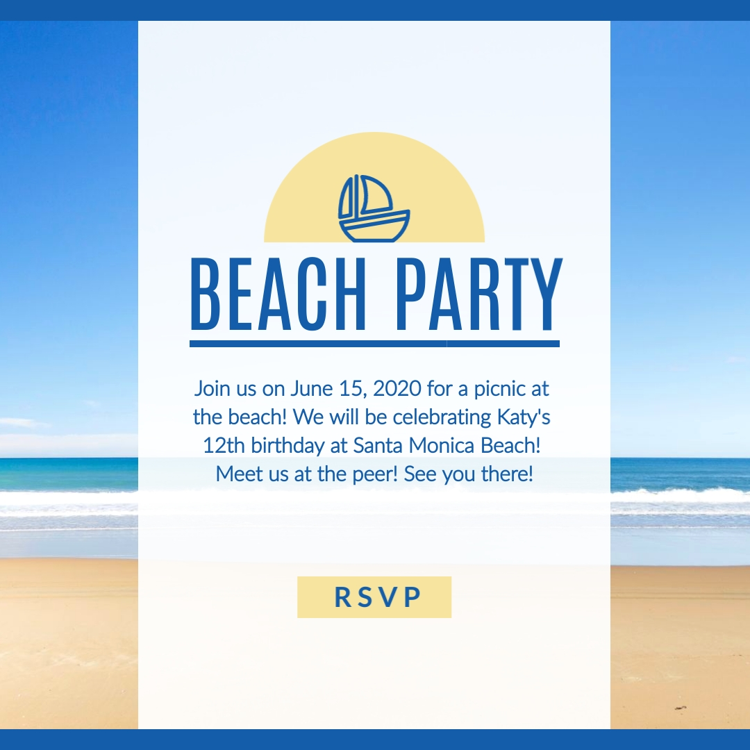 Beach Party Invitation Instagram Post Template  Visme