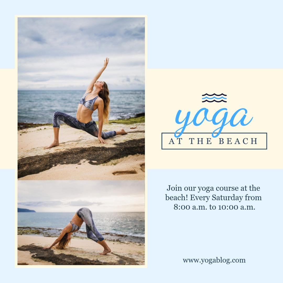 Beach Yoga Animated Square Template