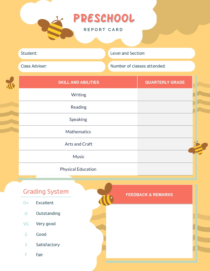 This is a graphic of Smart Printable Report Card
