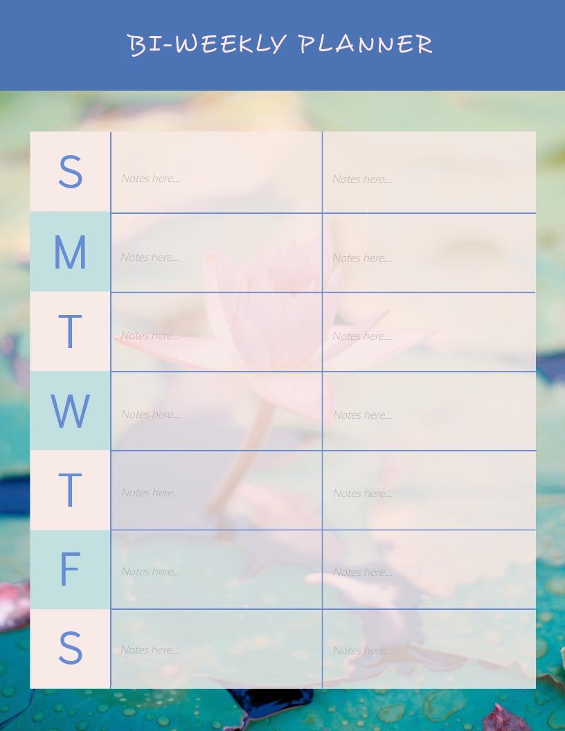 Bi-Weekly Planner - Schedule Template