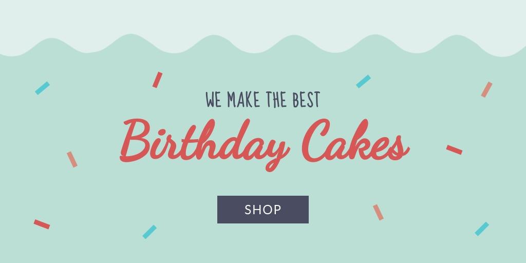 Birthday Cakes Twitter Post  Template