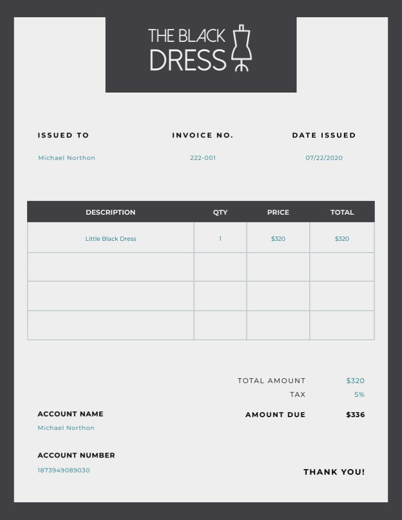 Black Dress Store - Invoice Template