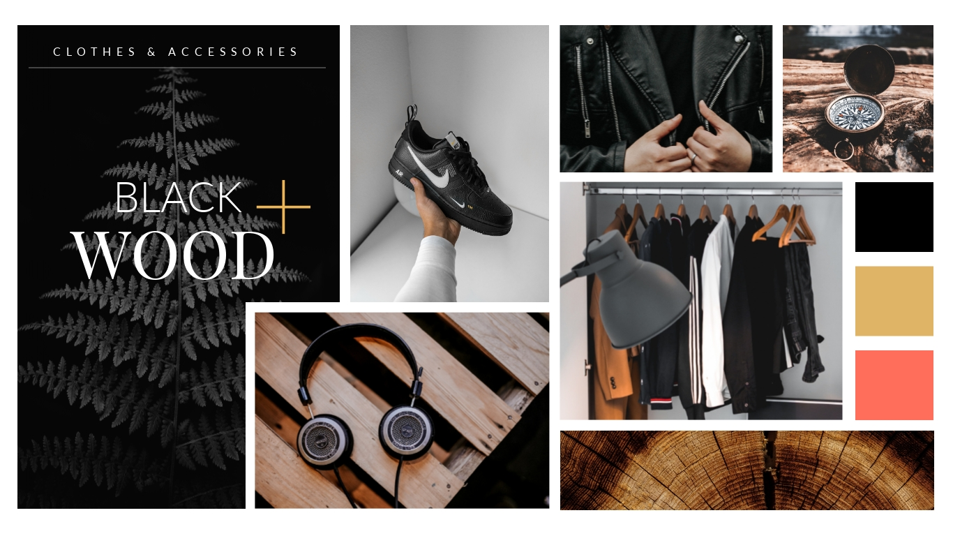 Black and Wood Moodboard Template