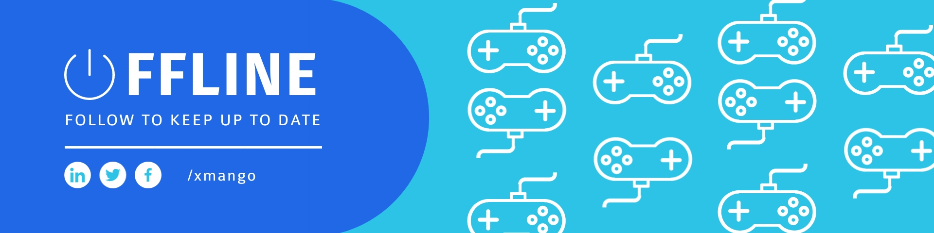 Blue and Controller Pattern Twitch Banner Template