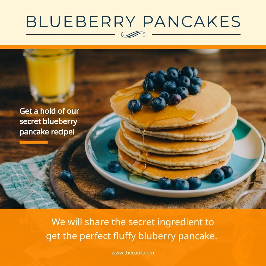 Blueberry Pancakes Recipe Instagram Post   Template