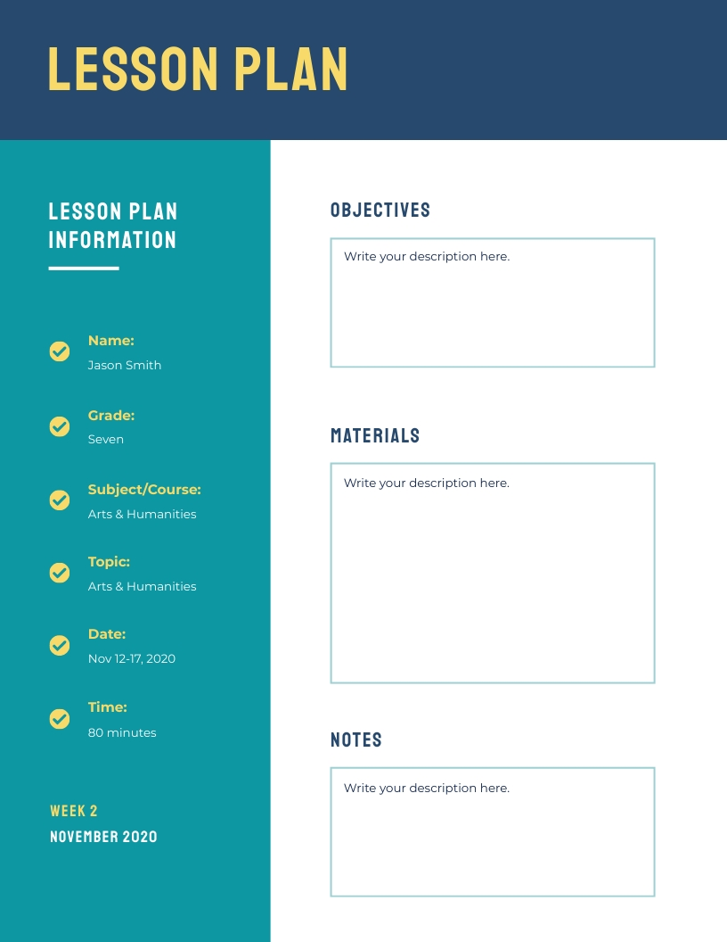 Bold Themed - Lesson Plan Template