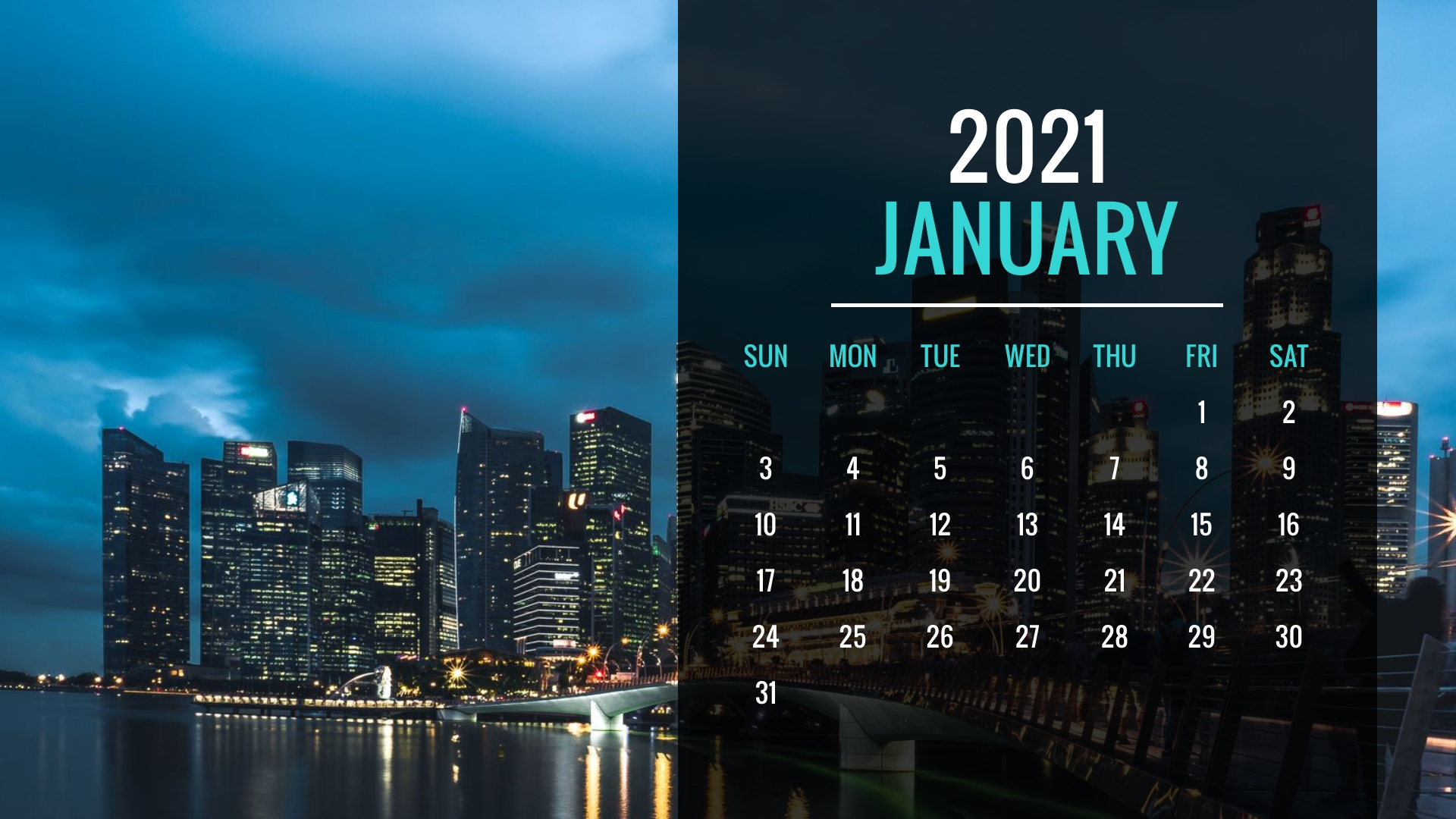 Buildings Yearly Calendar Template
