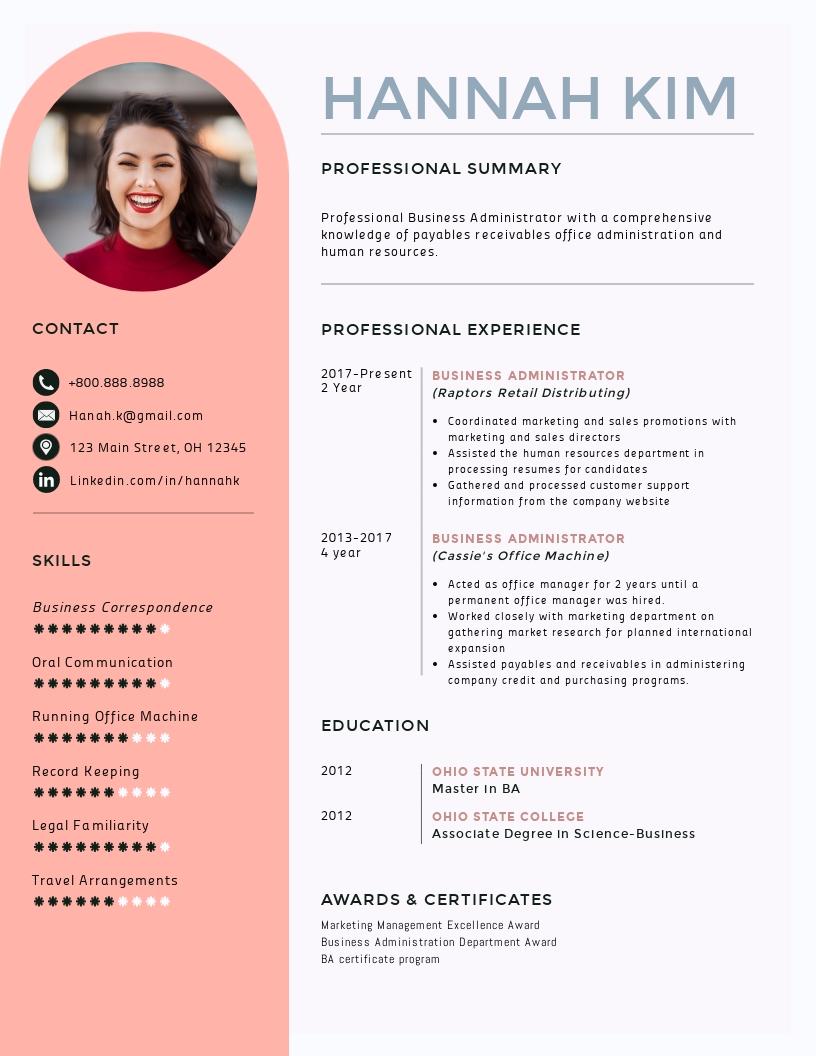 Business Adminstrator Resume Template