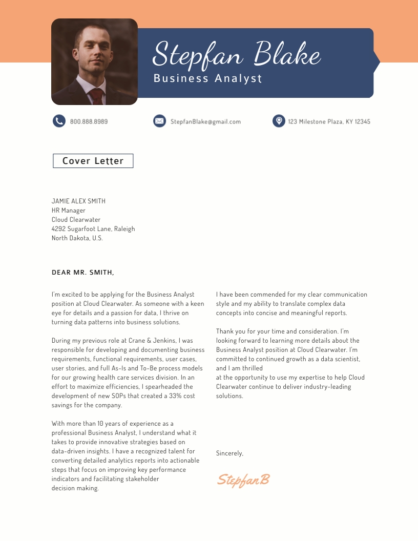 Business Analyst Cover Letter Template Visme