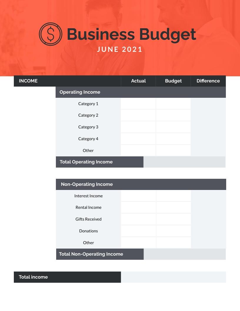 Business Budget Worksheet Template