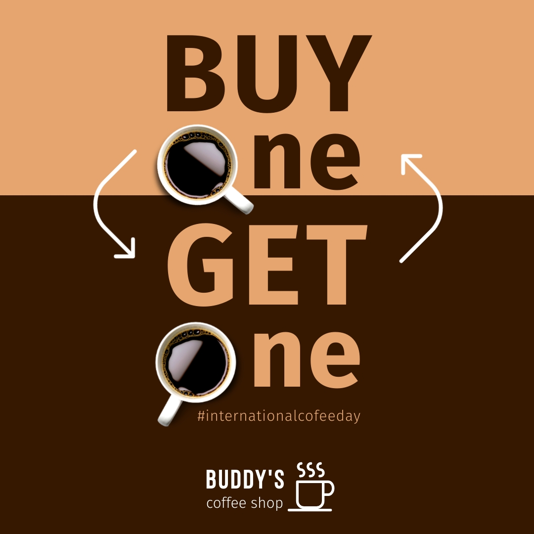Buy 1 Get 1 Coffee Day Animated Square Template