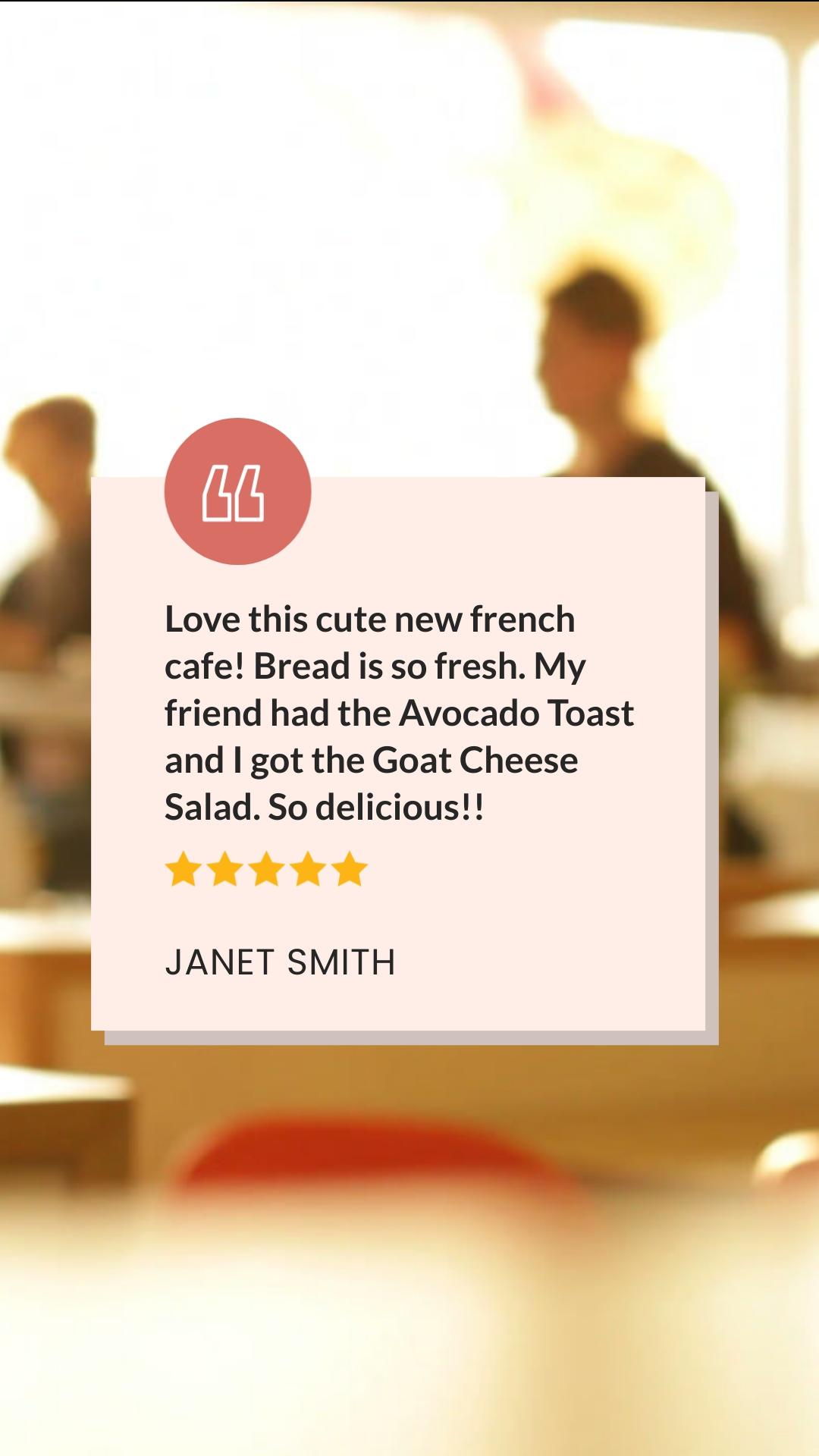Cafe Reviews - Video Testimonial Vertical Template