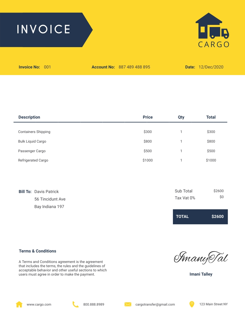 Cargo - Invoice Template