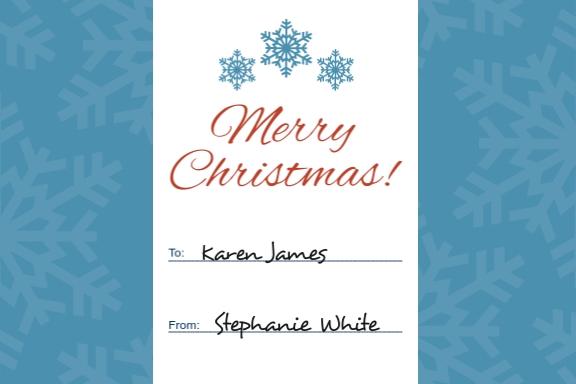 Christmas Name Tag Label Template