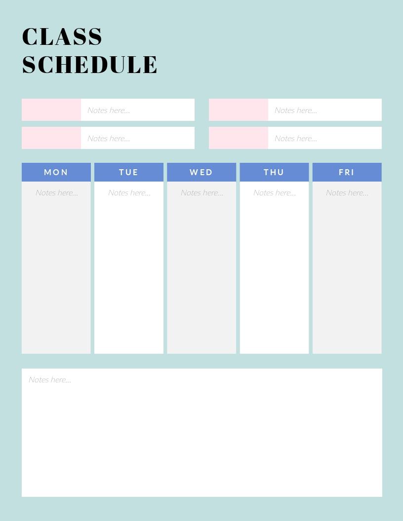 Class - Schedule Template