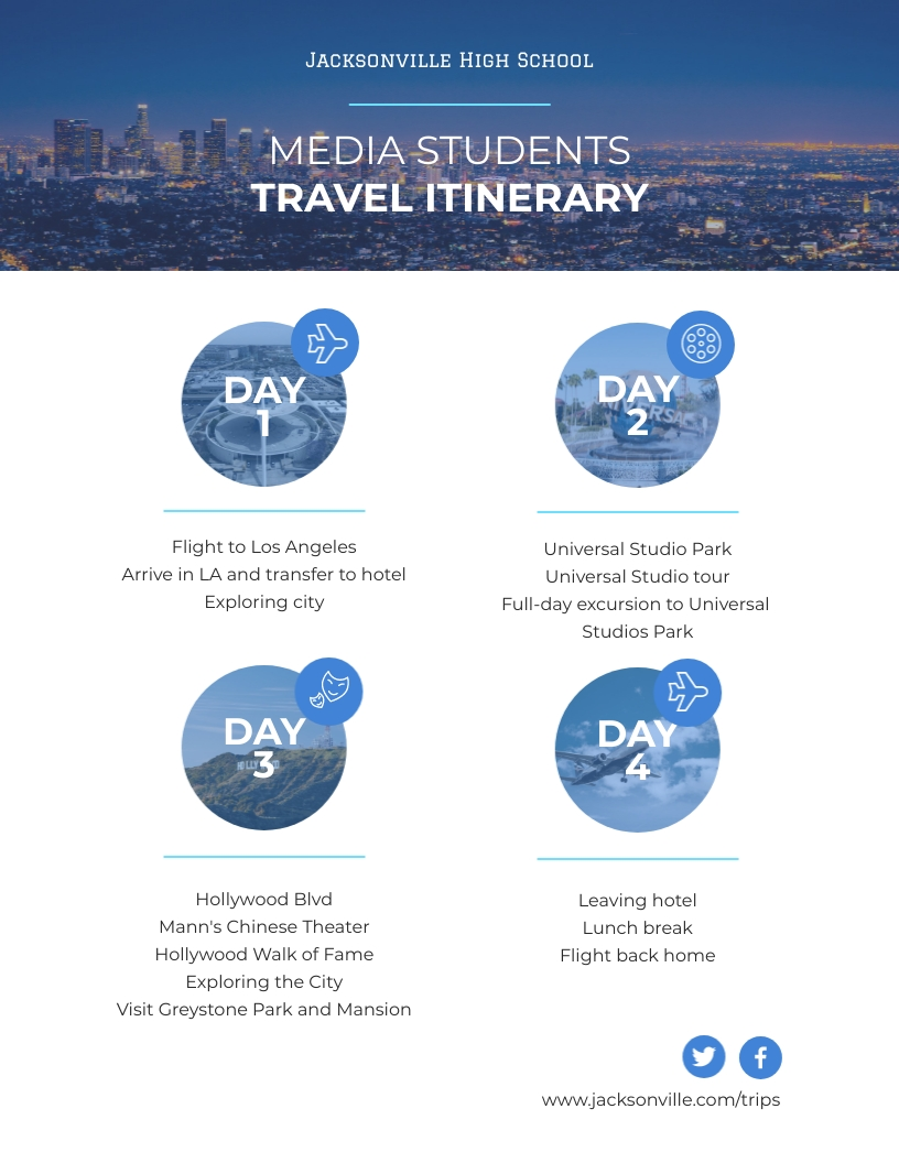 Class Trip Travel Itinerary Template
