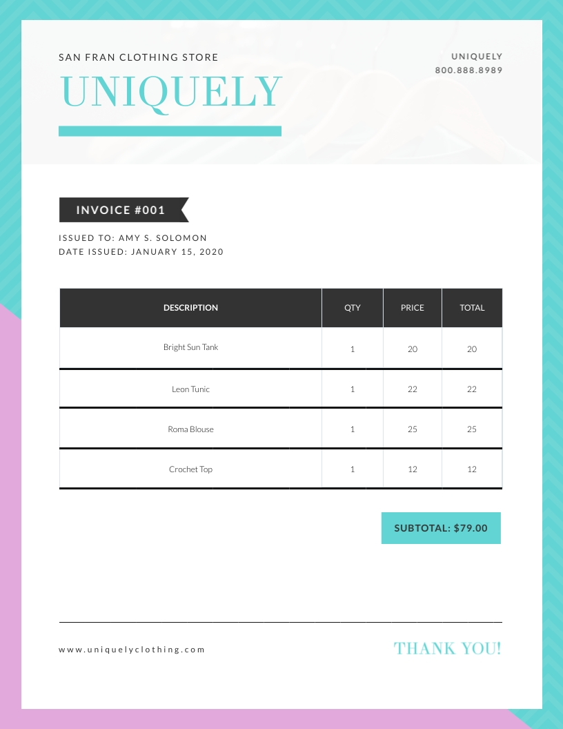 Clothing Store - Invoice Template