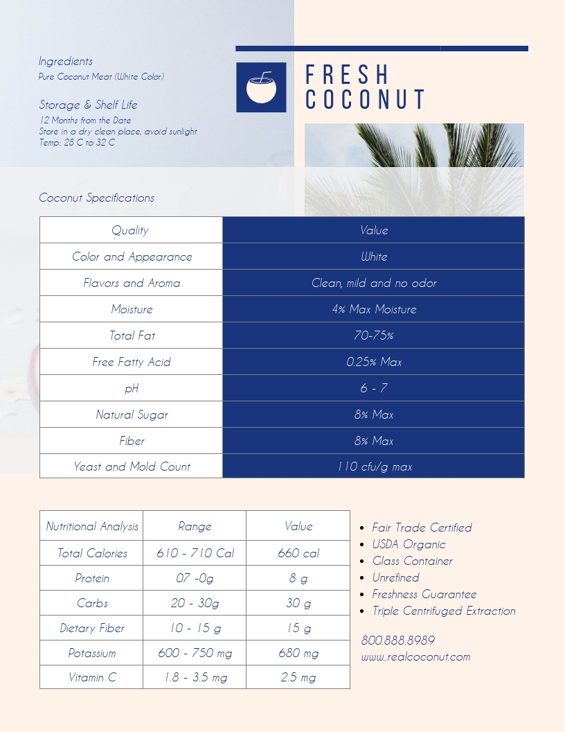 Coconut - Product Sell Sheet Template
