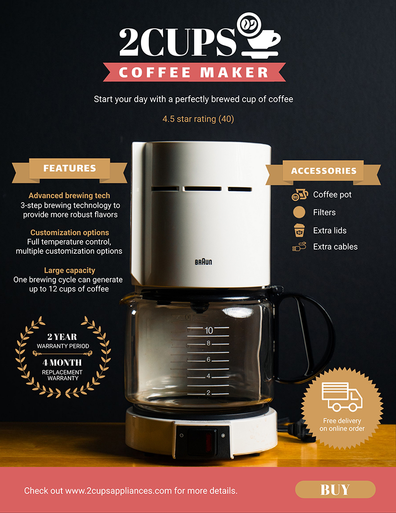 Coffee Maker Product Sell Sheet Template