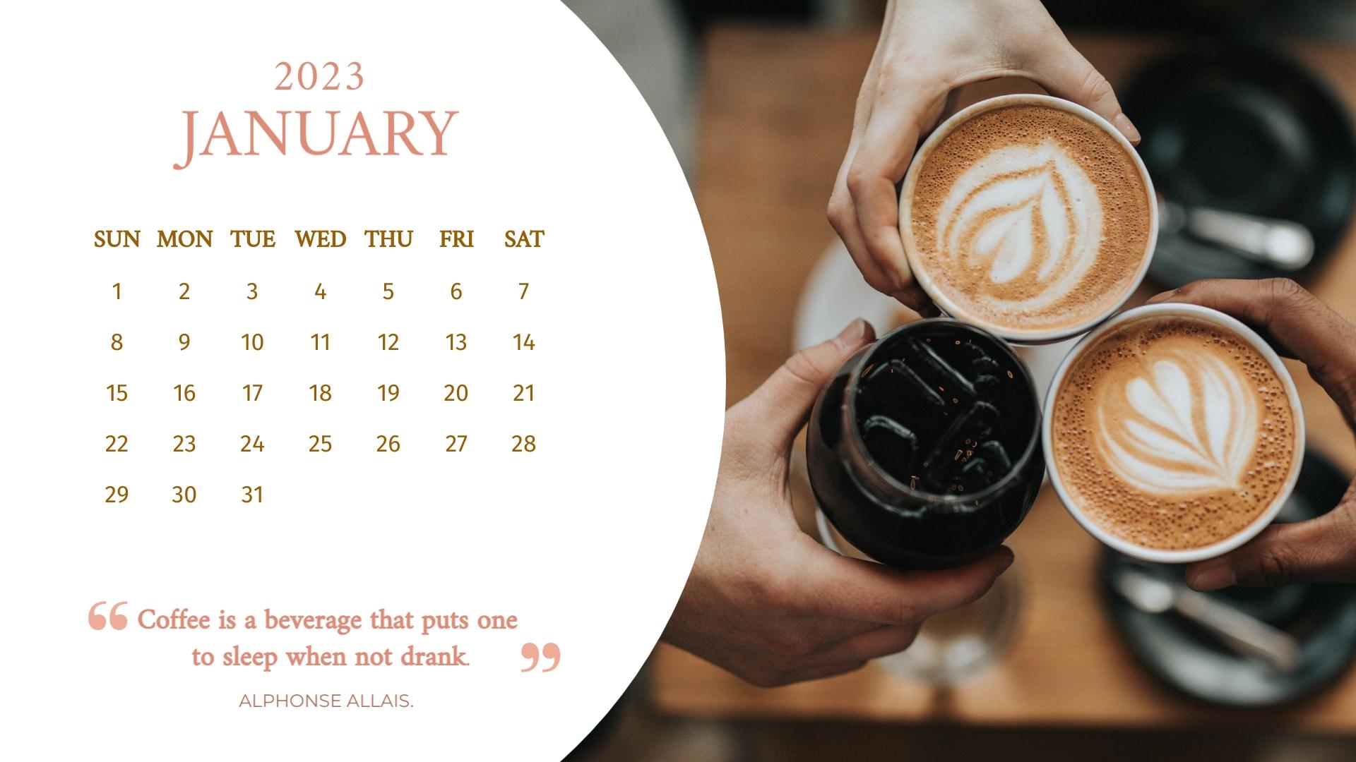 Coffee Yearly Calendar Template