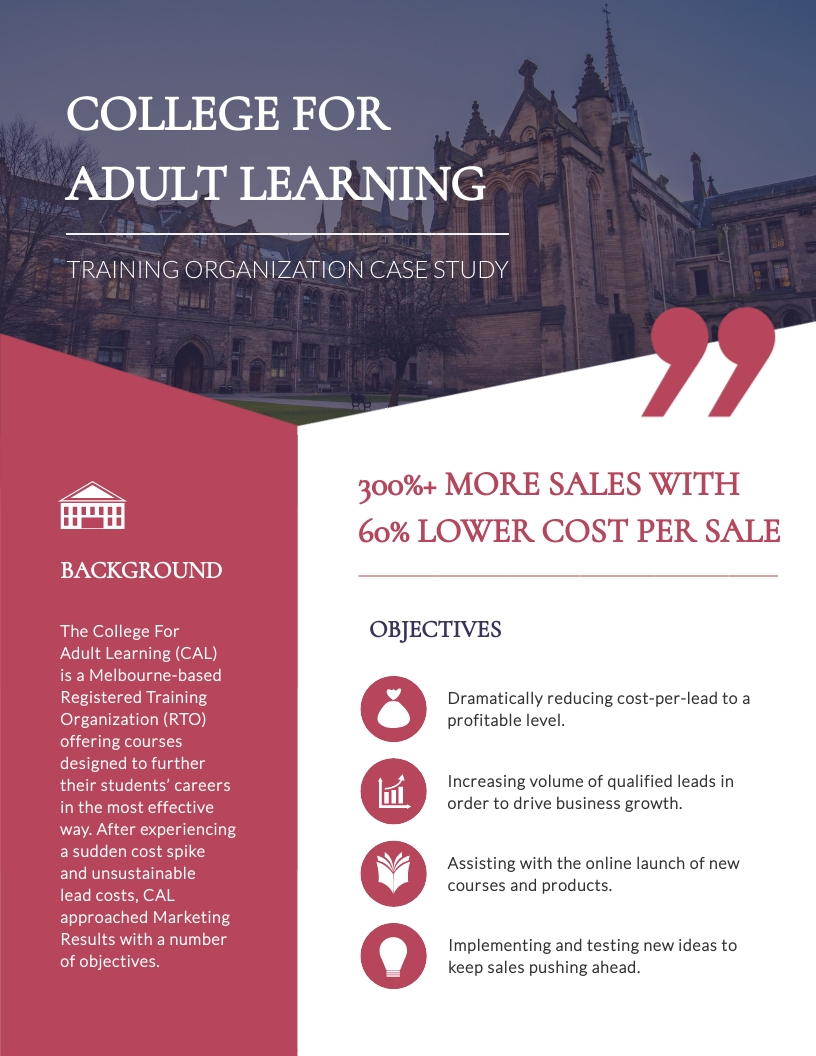 College For Adult Learning Training Organization Case Study Template