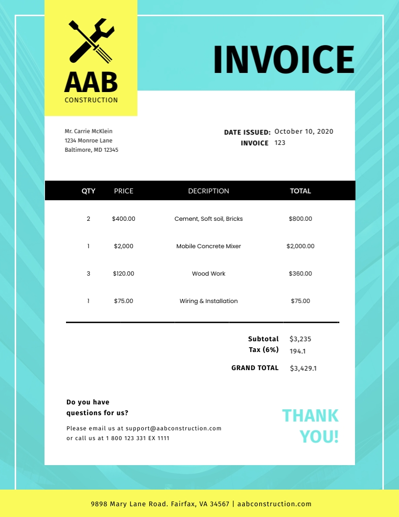 Construction - Invoice Template