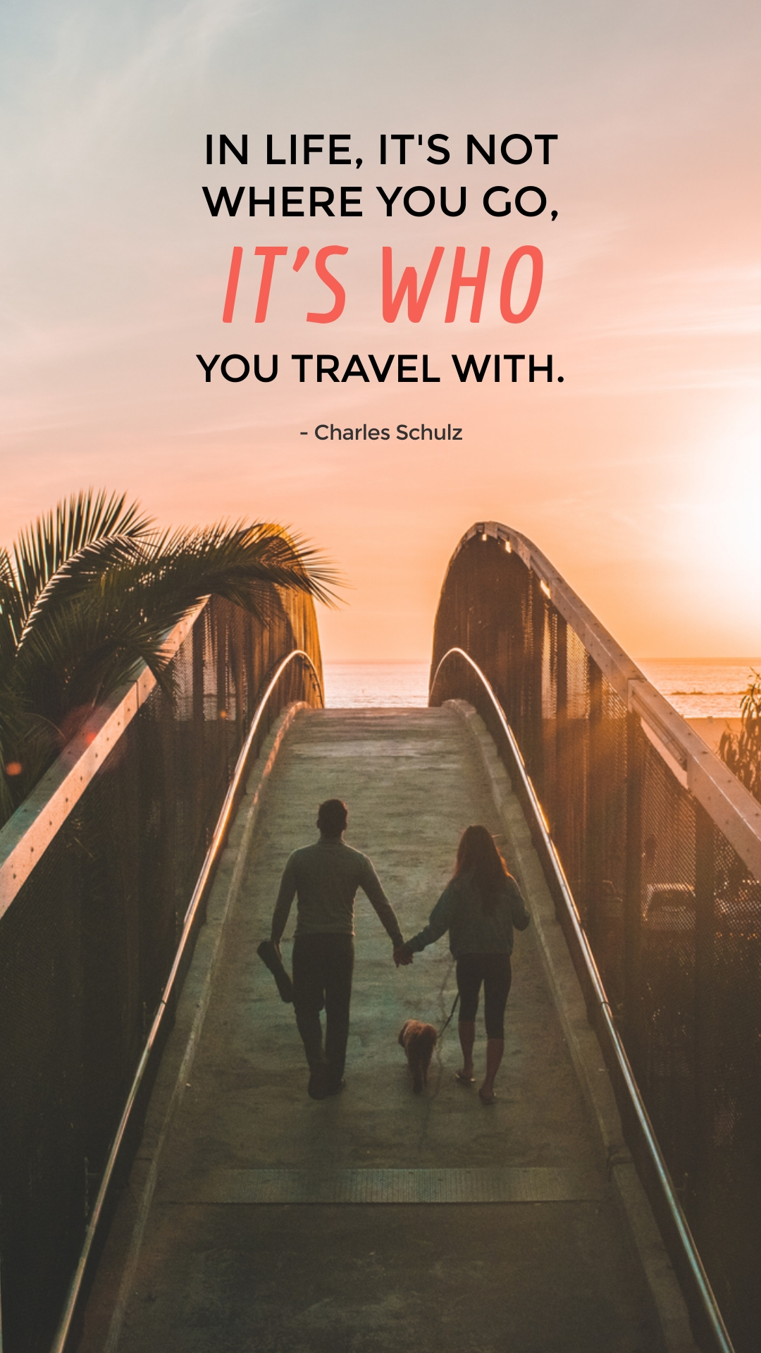 Couple Travel Quote Phone Wallpaper Template