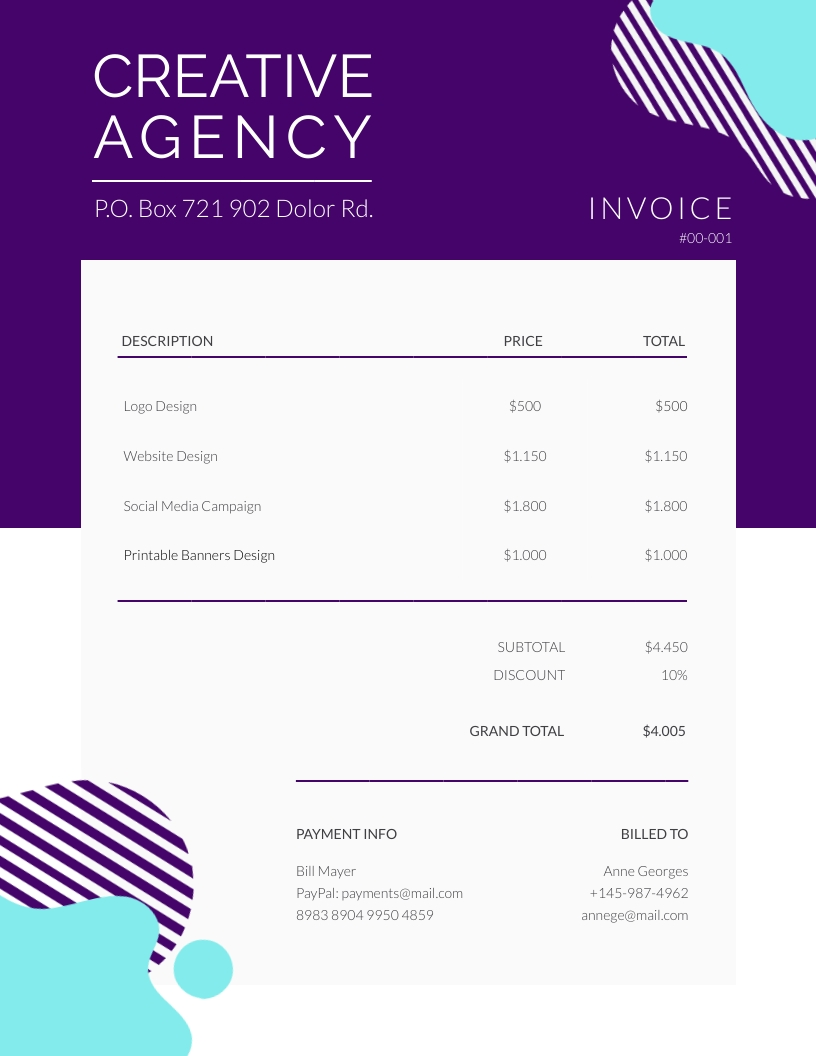 Creative Agency Invoice Template Visme