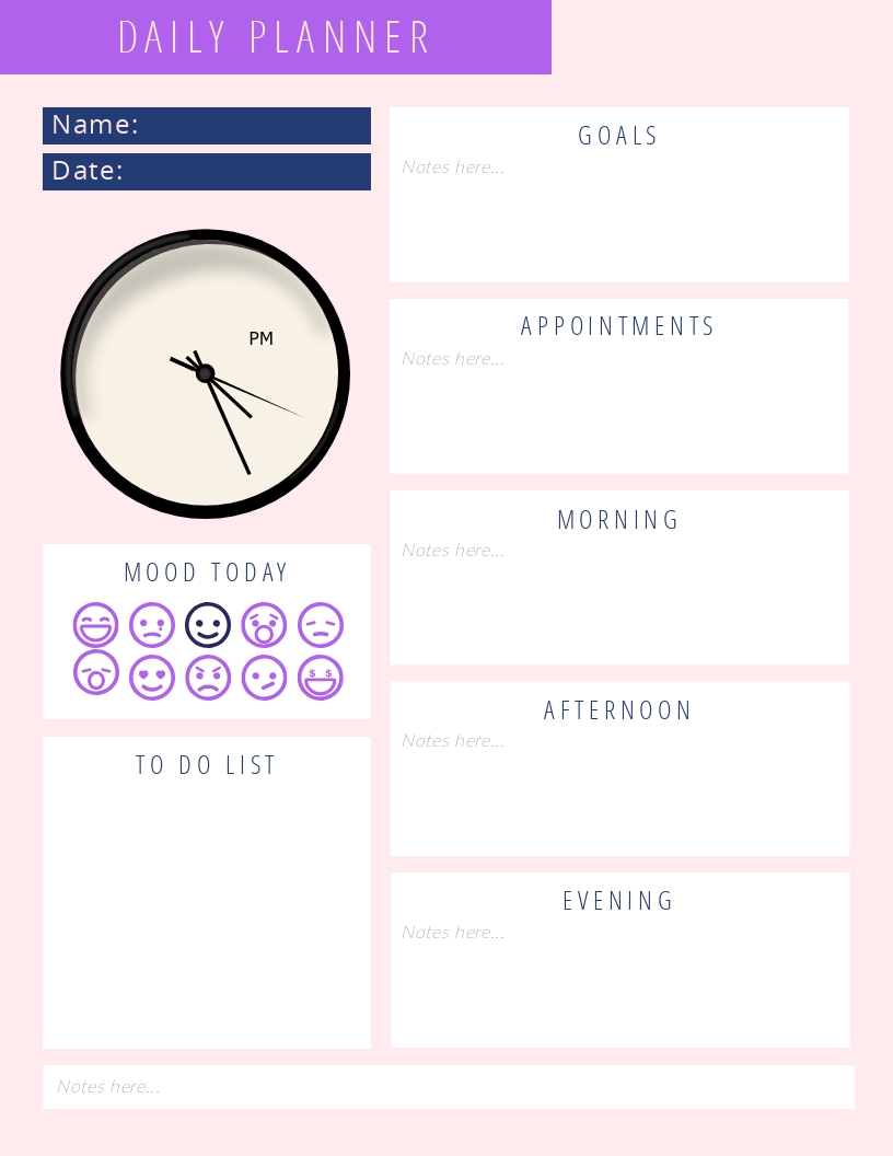 Daily Mood Planner - Schedule Template