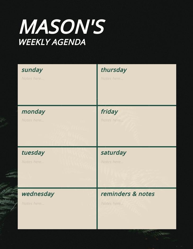 Dark Tone Weekly Planner Template