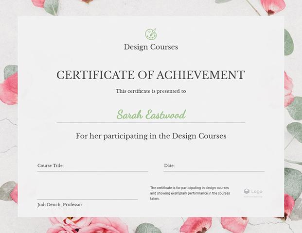 Design Courses Certificate of Achievement - Certificate Template