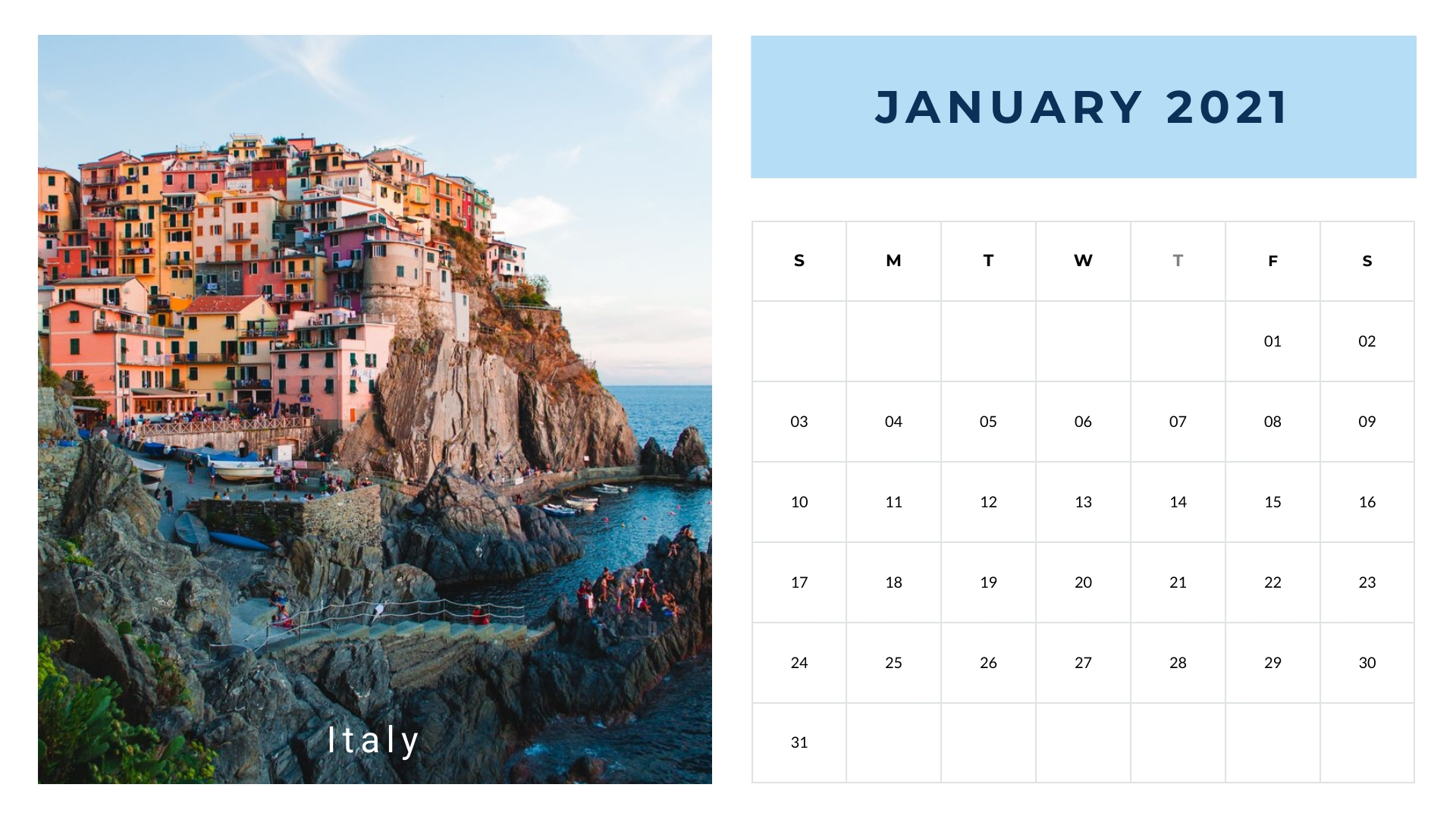 Destinations - Calendar Template