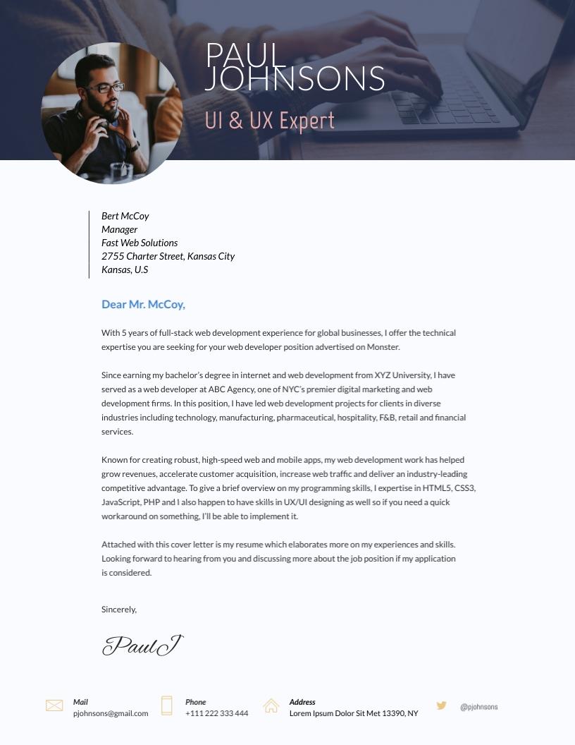 Developer - Cover Letter Template